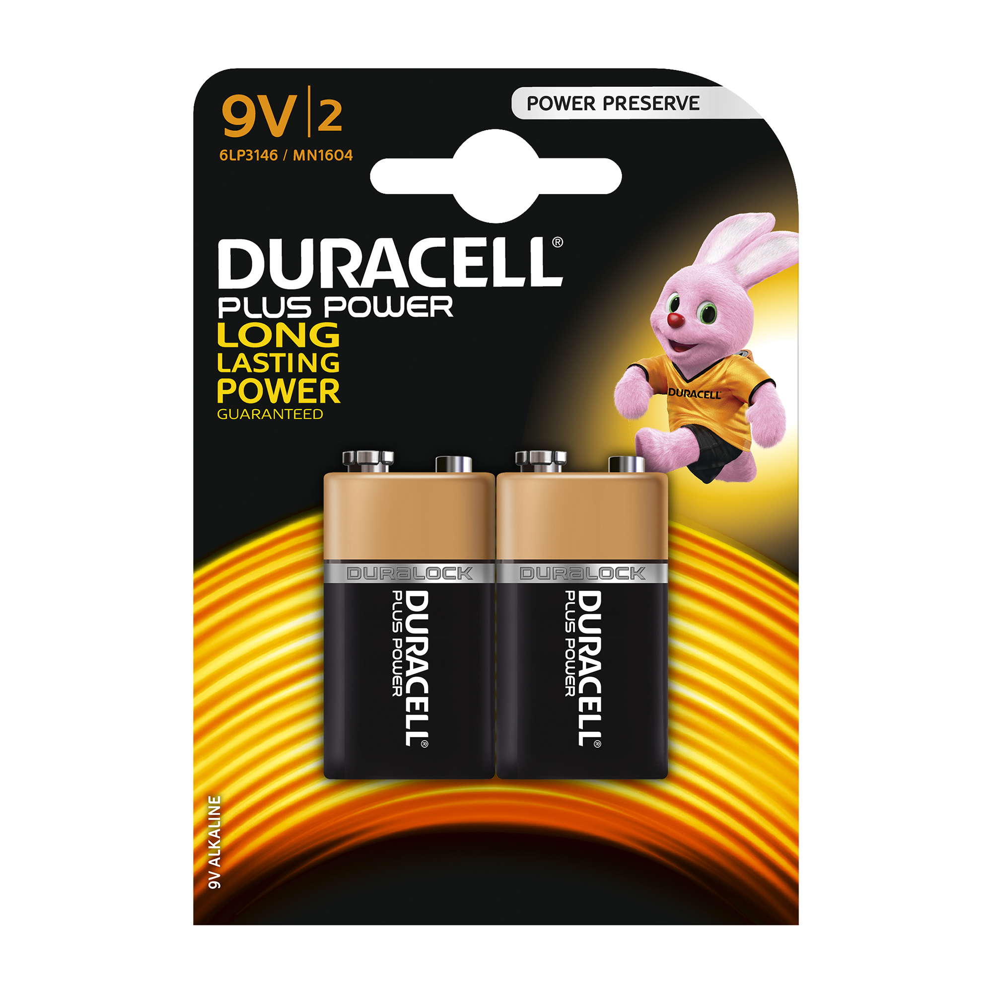 9V Duracell Plus Power MN1604 Battery Alkaline 9V Ref 81275459 Pack 2