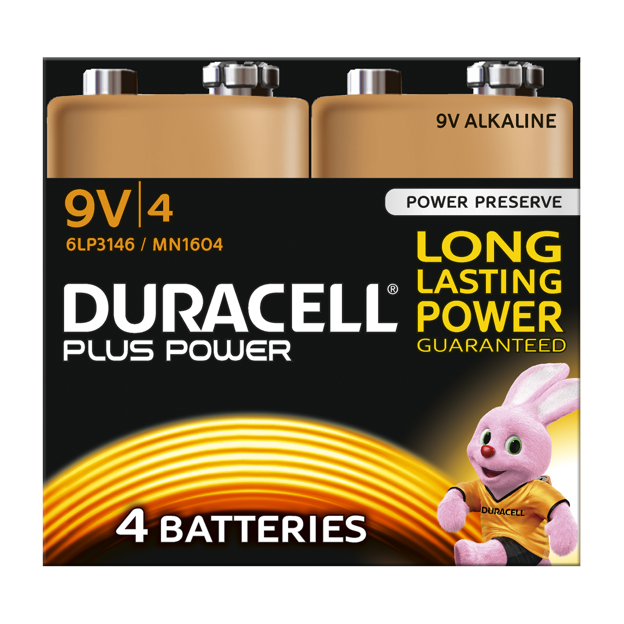 9V Duracell Plus Power Battery Alkaline 9V Ref 81275463 Pack 4