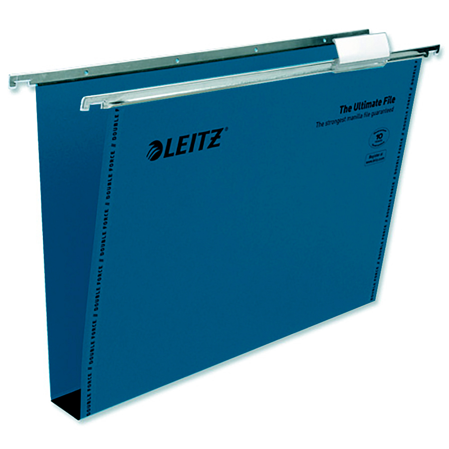 Leitz Ultimate Suspension File Recycled Manilla Wide-base 30mm 215gsm Foolscap Blue Ref17450035 [Pack 50]
