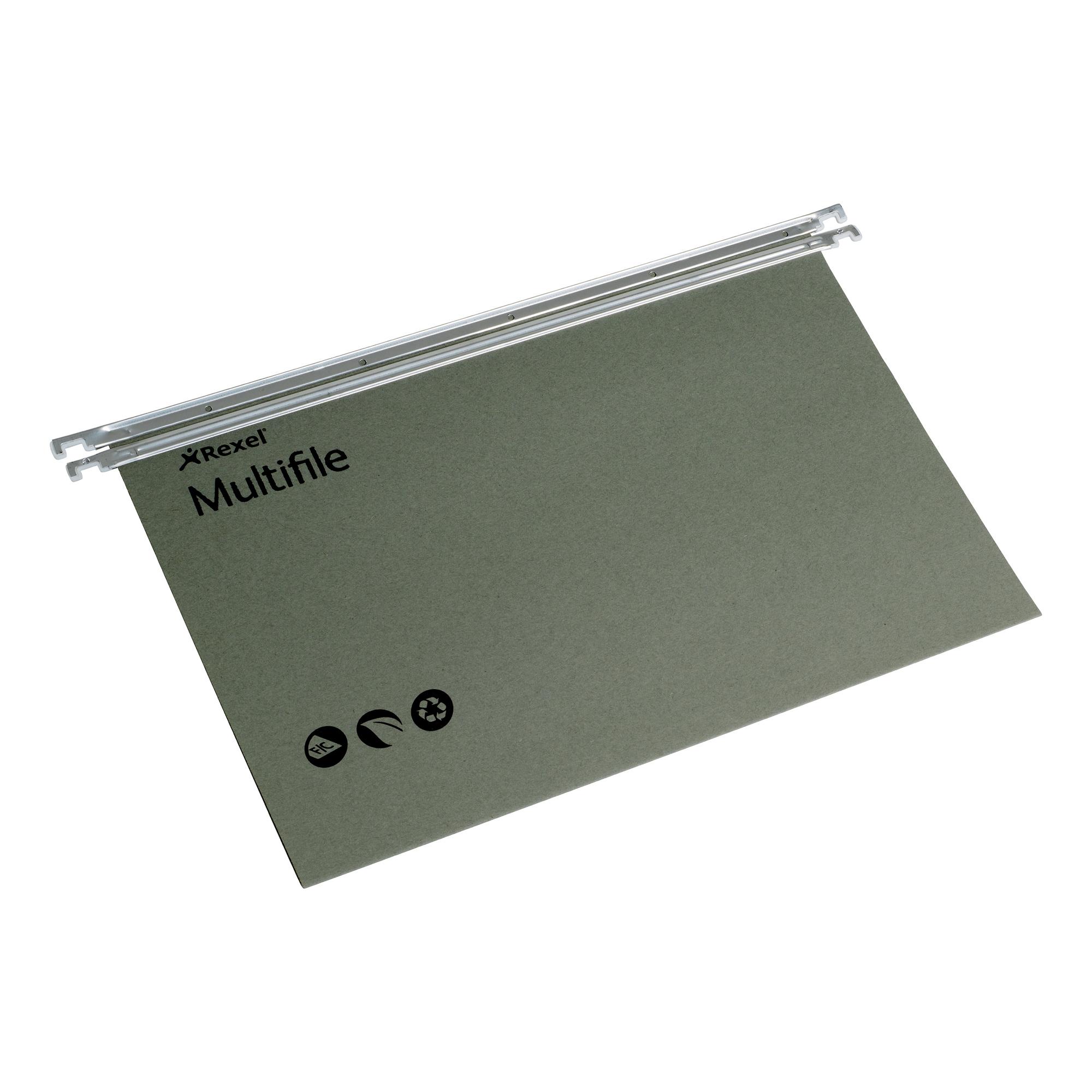 Rexel Multifile Suspension File Manilla 15mm V-base 180gsm Foolscap Green Ref 78008 [Pack 50]