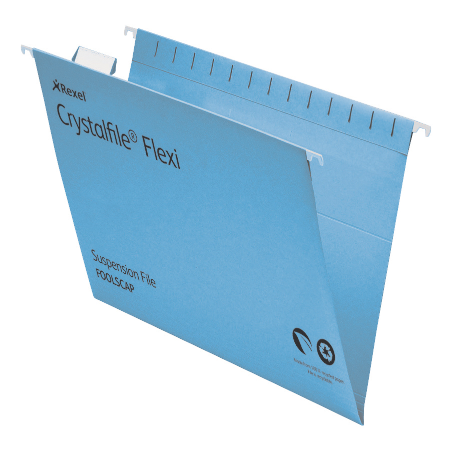 Rexel Crystalfile Flexifile Suspension File 15mm V-base 225gsm Foolscap Blue Ref 3000041 Pack 50