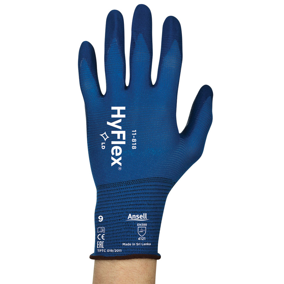 Hand Protection Ansell Hyflex 11-818 Glove Size 9 Large Blue Ref AN11-818L *Up to 3 Day Leadtime*