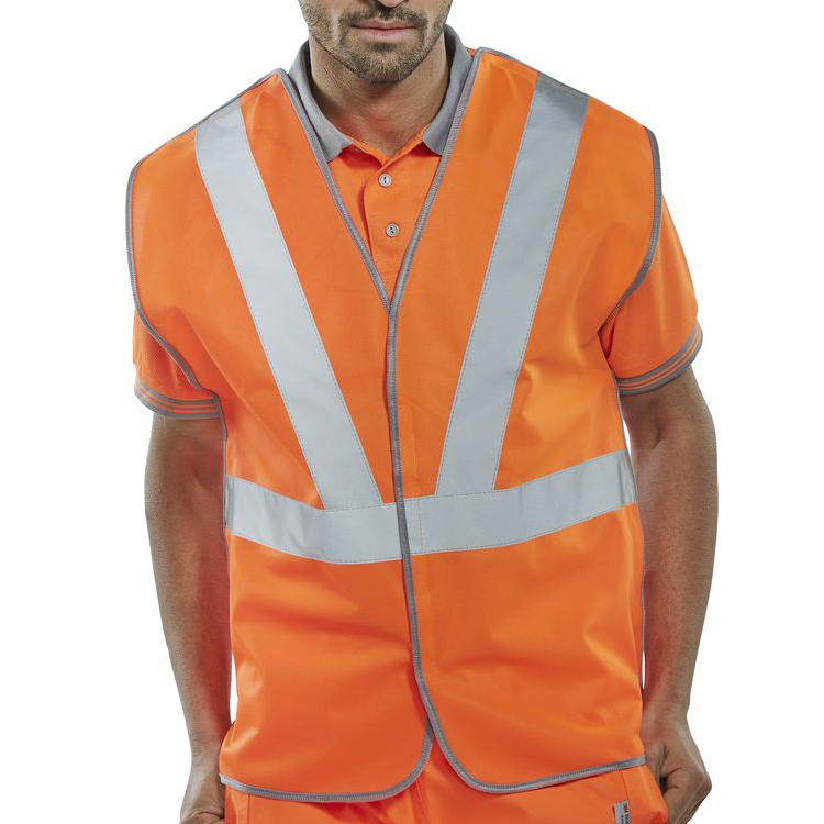 B-Seen High Visibility Railspec Vest Polyester Large Orange Ref RSV02PL *Up to 3 Day Leadtime*