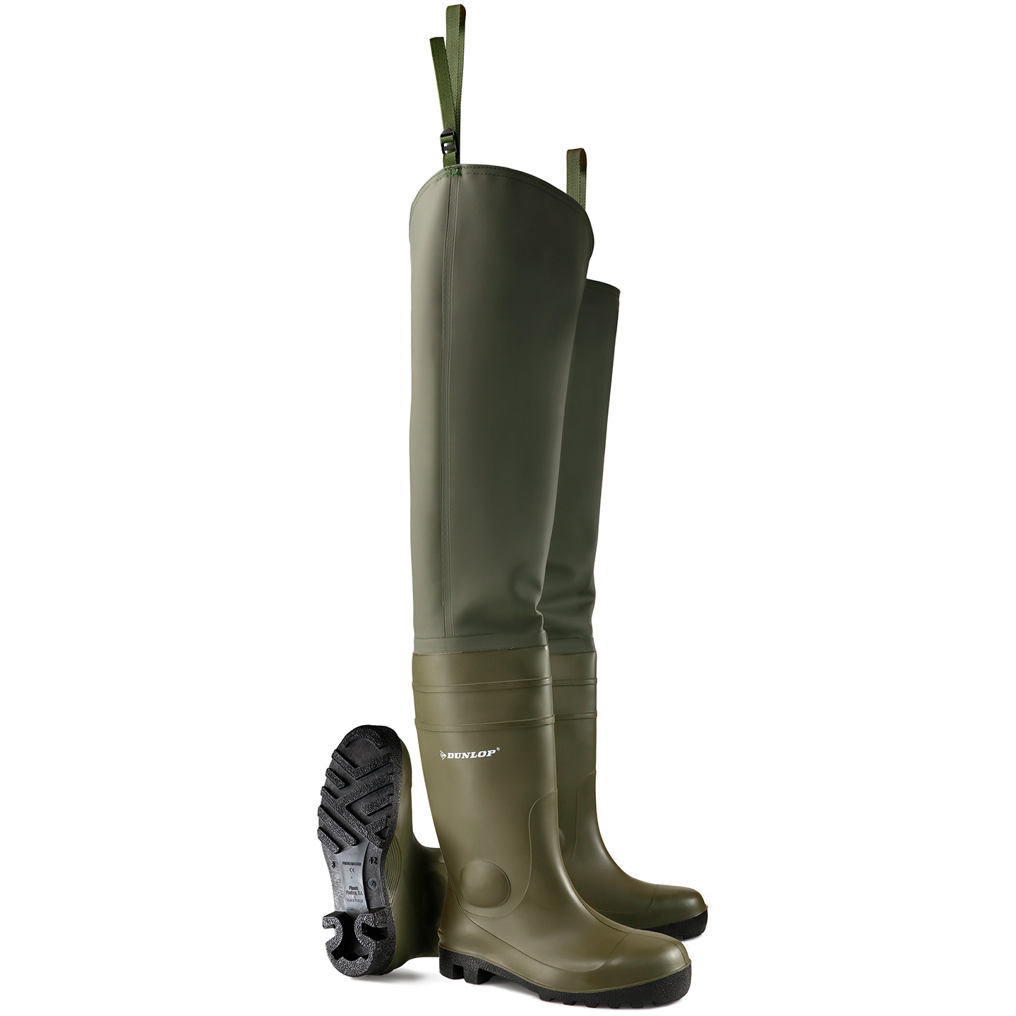 Footwear Dunlop Safety Thigh Wader Size 8 Green Ref PTWFS08 *Up to 3 Day Leadtime*