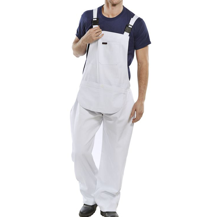 Click Workwear Bib & Brace Cotton Drill Size 34 White Ref CDBBW34 *Up to 3 Day Leadtime*