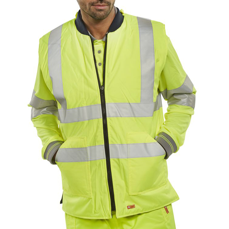B-Seen Reversible Hi-Vis Bodywarmer Small Saturn Yellow/Navy Ref BWENGSYS*Up to 3 Day Leadtime*