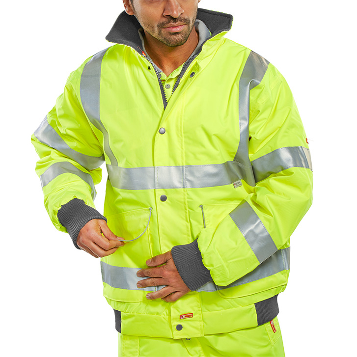 B-Seen Hi-Vis Super Bomber Jacket Large Saturn Yellow Ref BD75SYL *Up to 3 Day Leadtime*
