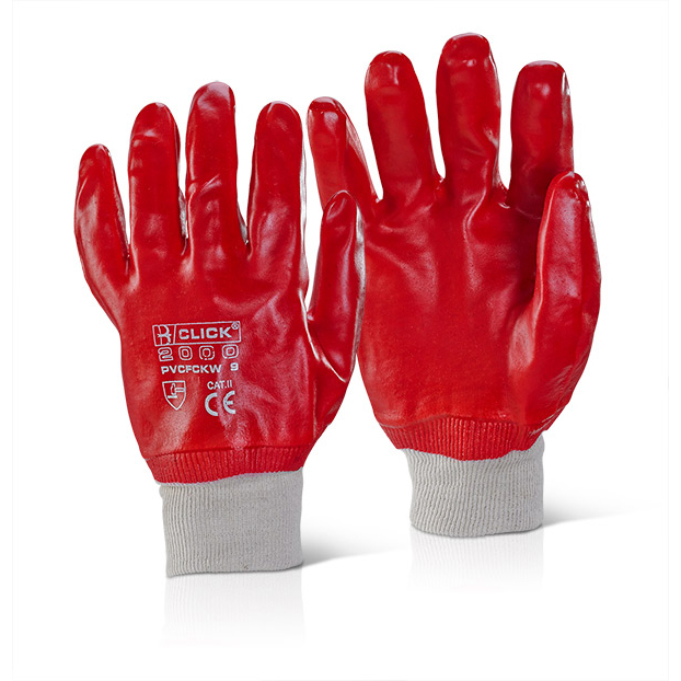 Click2000 PVC Fully Coated Knitwrist 10 Gloves Red Ref PVCFCKWR10 [Pack 100] *Up to 3 Day Leadtime*