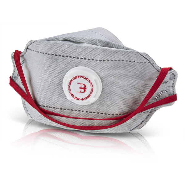 B-Brand P2 Premium Fold-flat Vented Mask Grey Ref BBFFP2CVD Pack 20 *Up to 3 Day Leadtime*