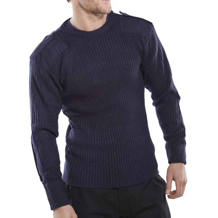 Click Workwear Sweater Military Style Crew-Neck M Navy Blue Ref AMODCNM *Up to 3 Day Leadtime*