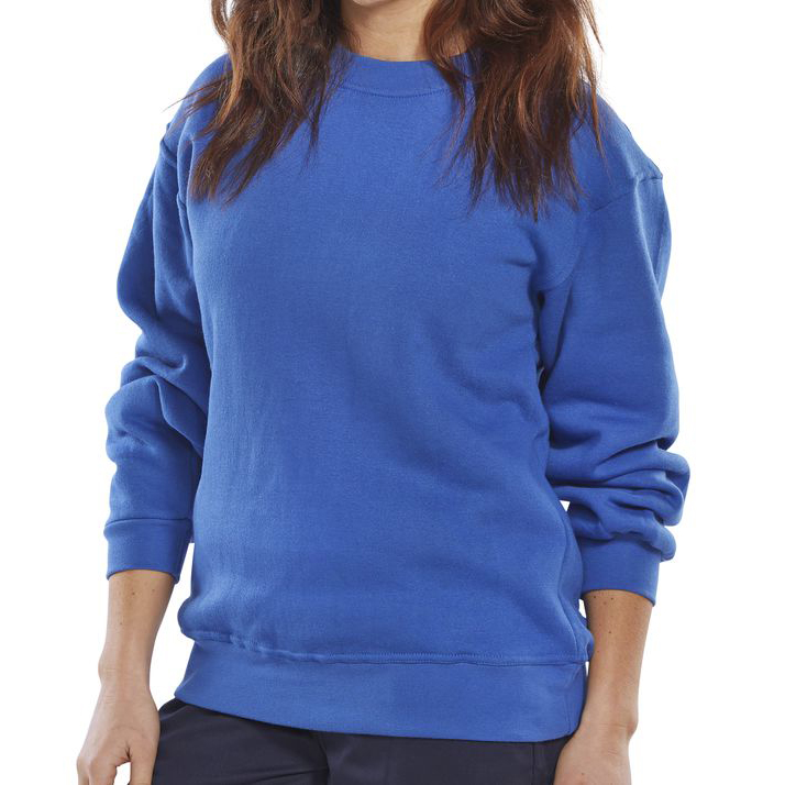 Sweatshirts / Jumpers / Hoodies Click Workwear Sweatshirt Polycotton 300gsm 4XL Royal Blue Ref CLPCSR4XL *Up to 3 Day Leadtime*
