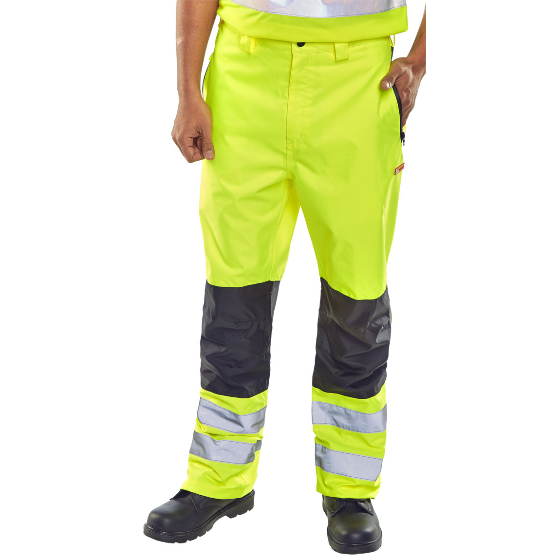 Ladies B-Seen Contrast Trousers Hi-Vis Waterproof 3XL Saturn Yellow Ref BD85SY3XL *Up to 3 Day Leadtime*