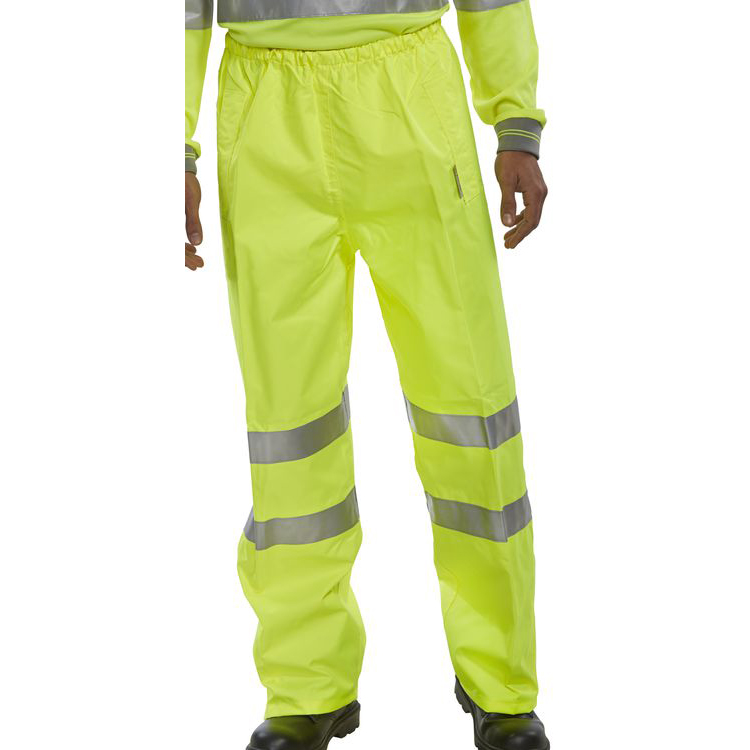B-Seen Birkdale Over Trousers Polyester Hi-Vis S Saturn Yellow Ref BITSYS *Up to 3 Day Leadtime*