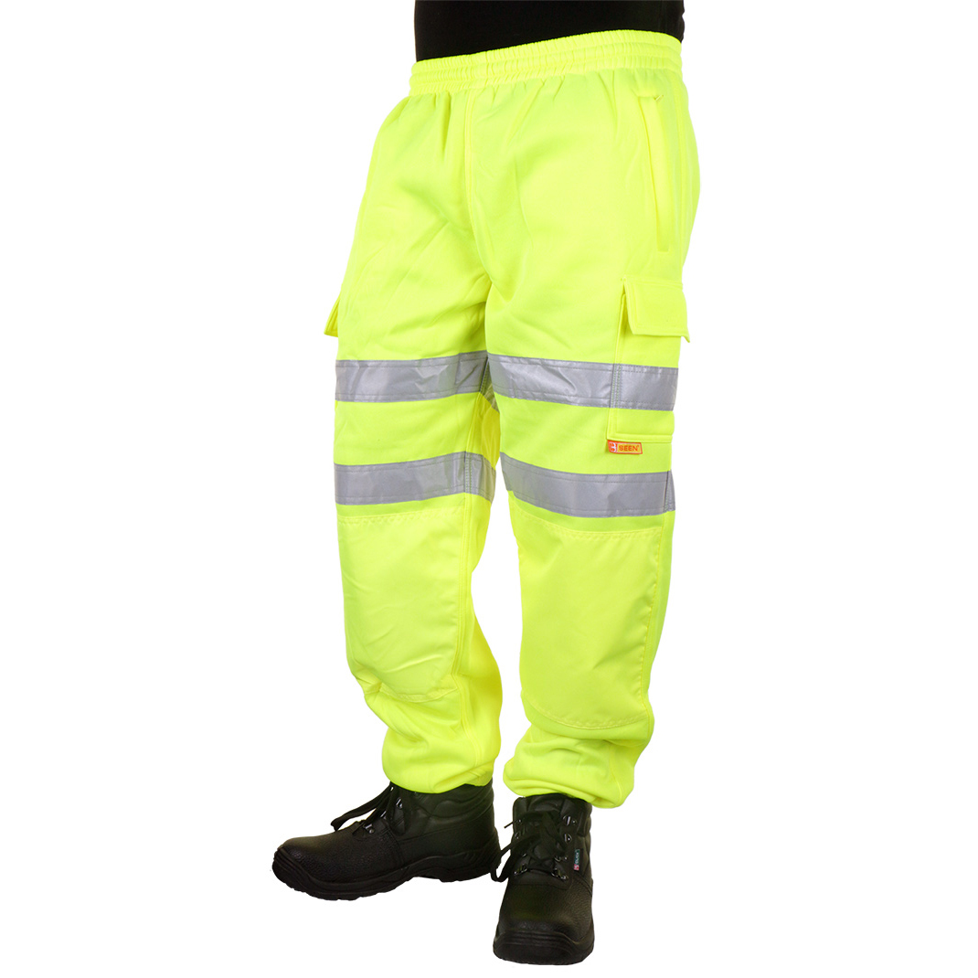 B-Seen Jogging Bottoms Hi-Vis Zip Pockets L Saturn Yellow Ref BSJBSYL *Up to 3 Day Leadtime*