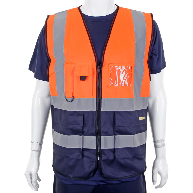 BSeen High-Vis Two Tone Executive Waistcoat 2XL Orange/Navy Ref HVWCTTORNXXL *Up to 3 Day Leadtime*