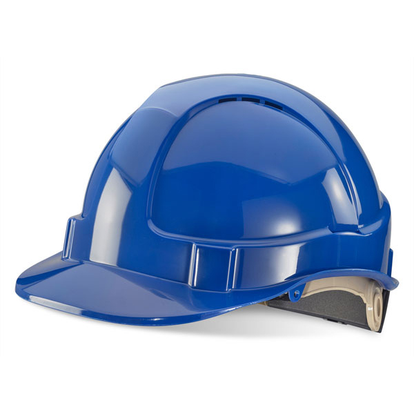 Head Protection B-Brand Wheel Ratchet Vented Safety Helmet Blue Ref BBVSHRHB *Up to 3 Day Leadtime*