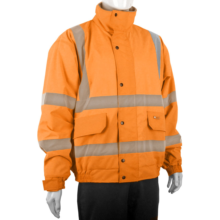 B-Seen Hi-Vis Bomber Jacket Fleece Lined Large Orange Ref CBJFLORL *Up to 3 Day Leadtime*