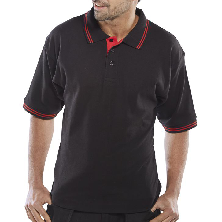 Click Workwear Polo Shirt Two Tone 220gsm M Black/Red Ref CLPKSTTBLREM *Up to 3 Day Leadtime*