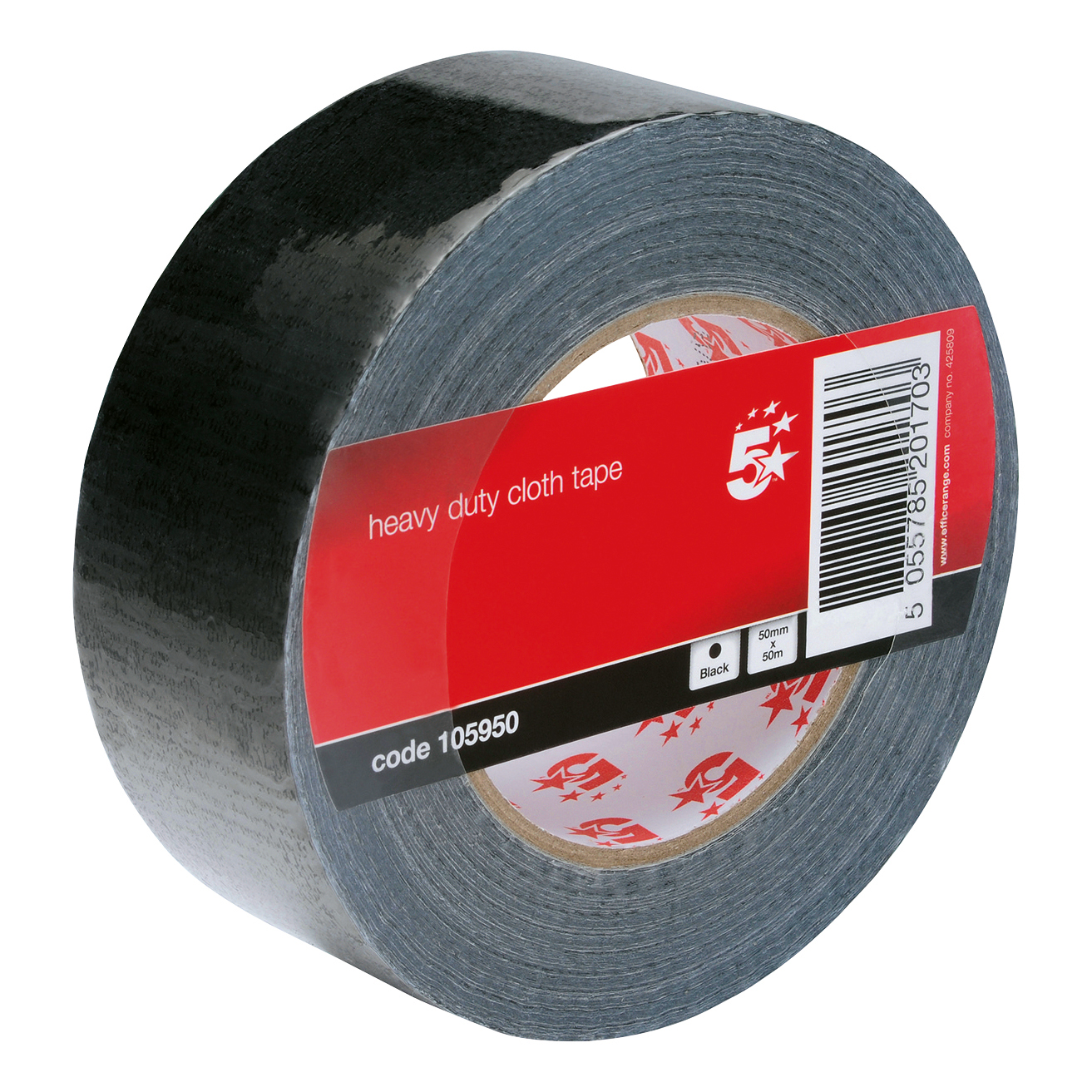 Packing Tape 5 Star Office Cloth Tape Heavy-duty Waterproof Tearable Multisurface Roll 50mm x 50m Black
