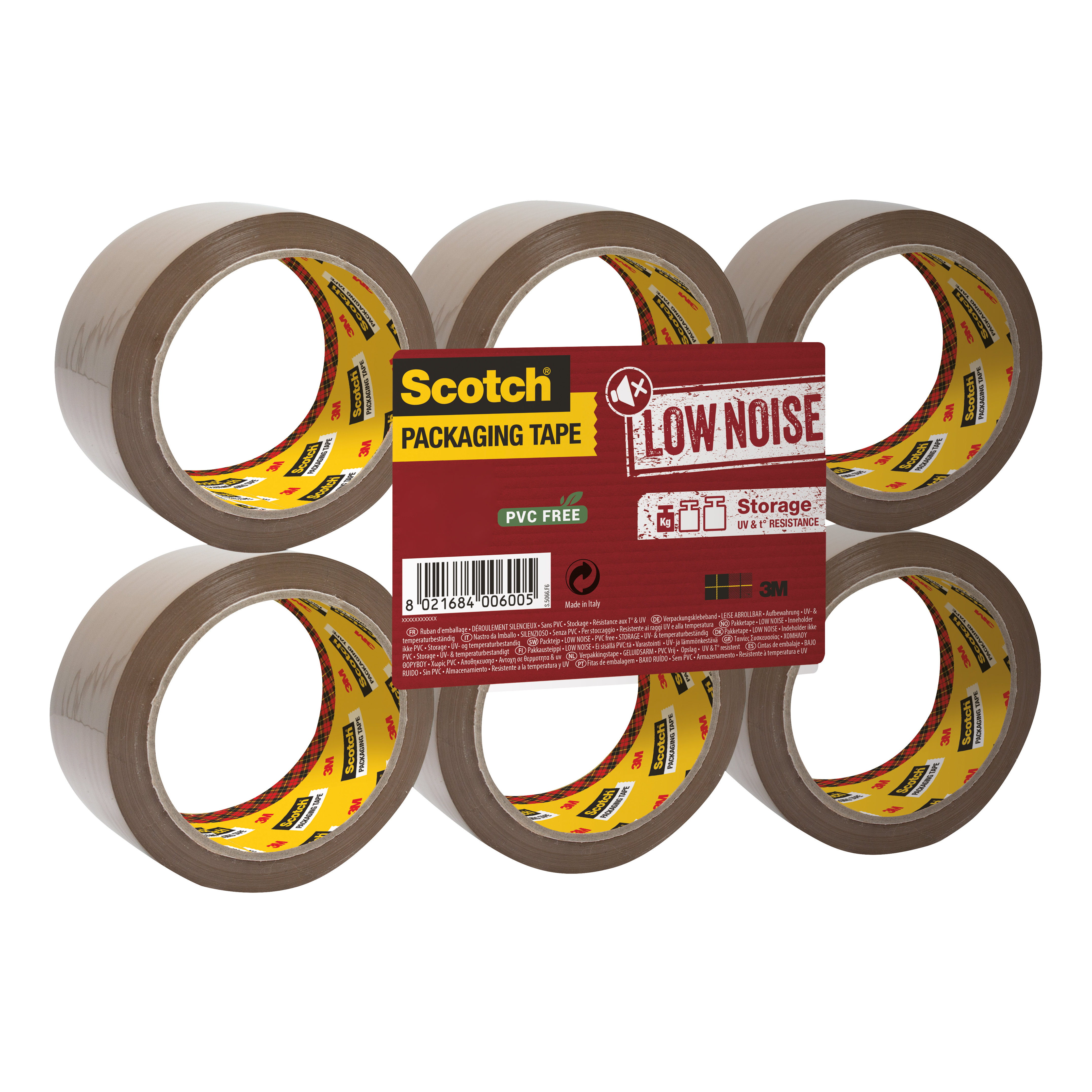 Scotch Packaging Tape Low Noise 48mmx66m Buff Ref 3120BT Pack 6