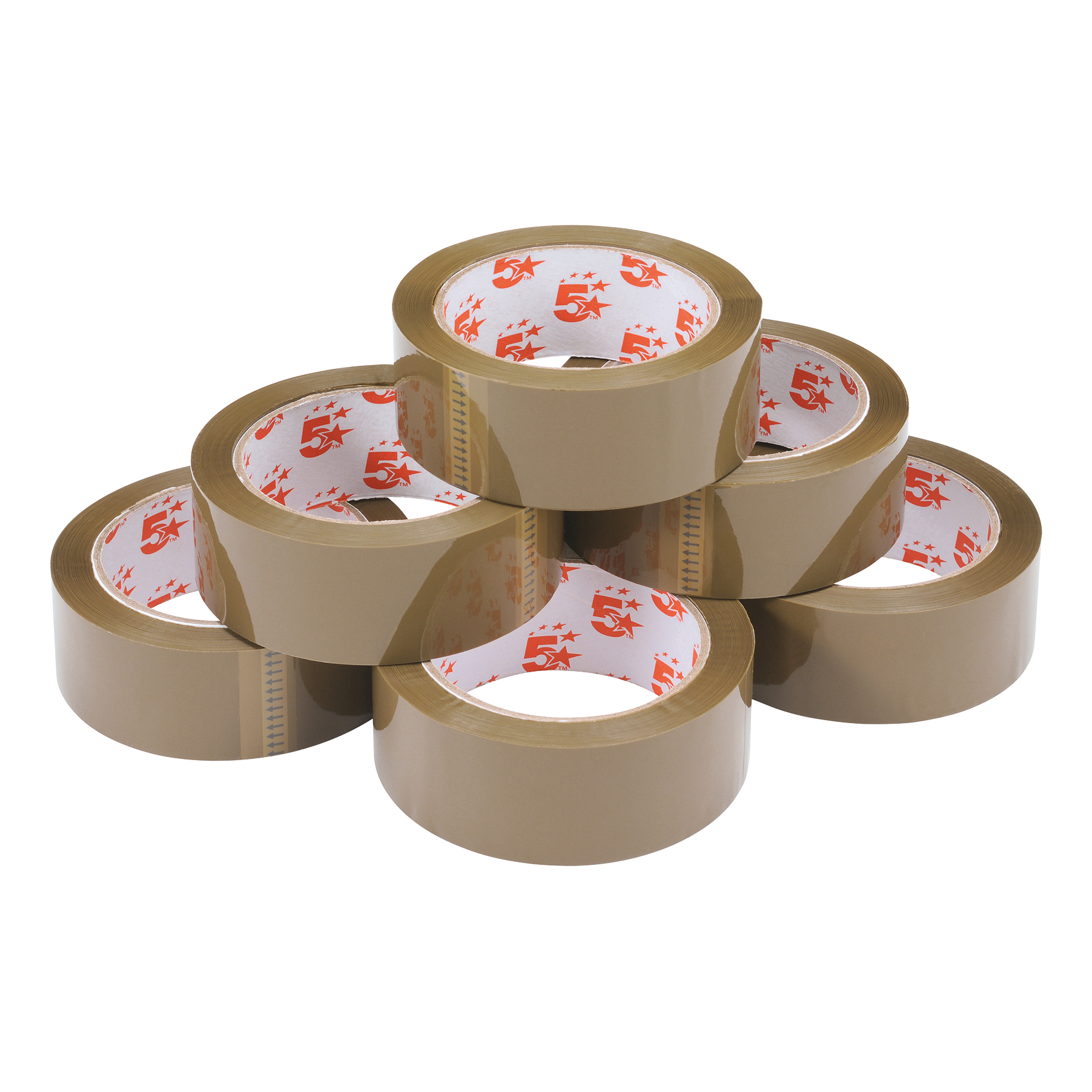 5 Star Office Packaging Tape Polypropylene 38mm x 66m Buff Pack 6