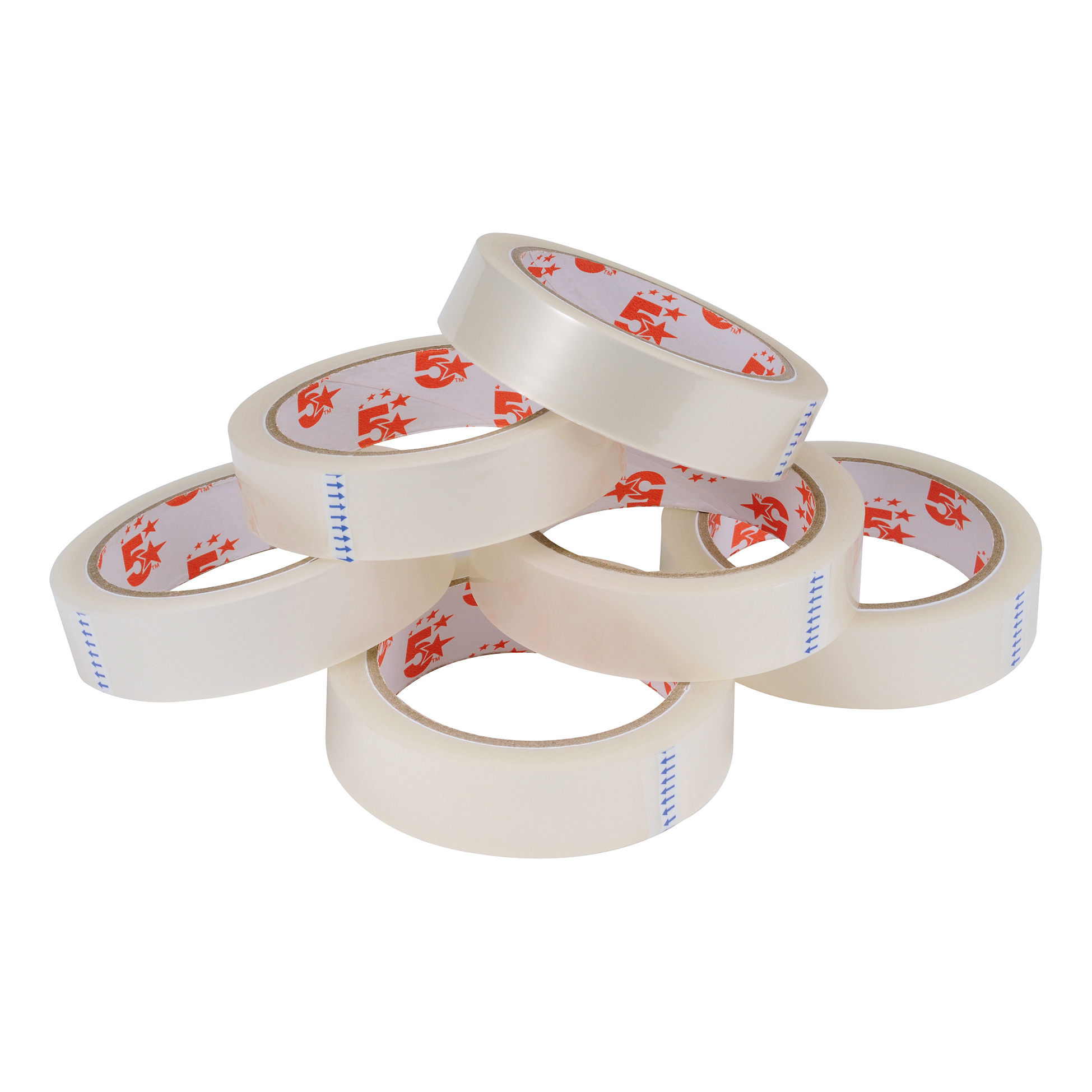5 Star Office Clear Tape Roll Large Easy-tear Polypropylene 40 Microns 24mm x 66m Pack 6
