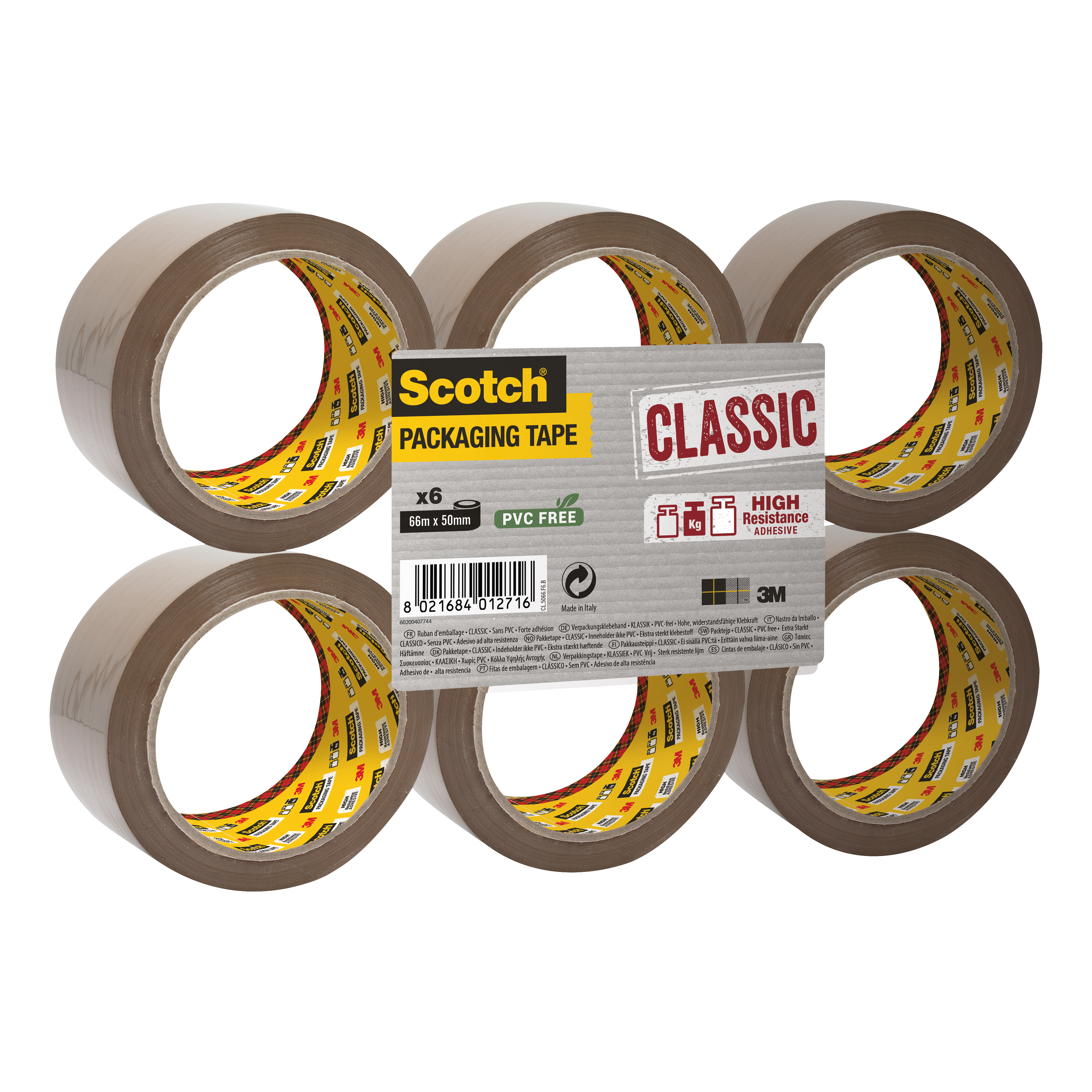 Scotch Classic Packaging Tape 50mmx66m Buff Ref CL5066F6B Pack 6