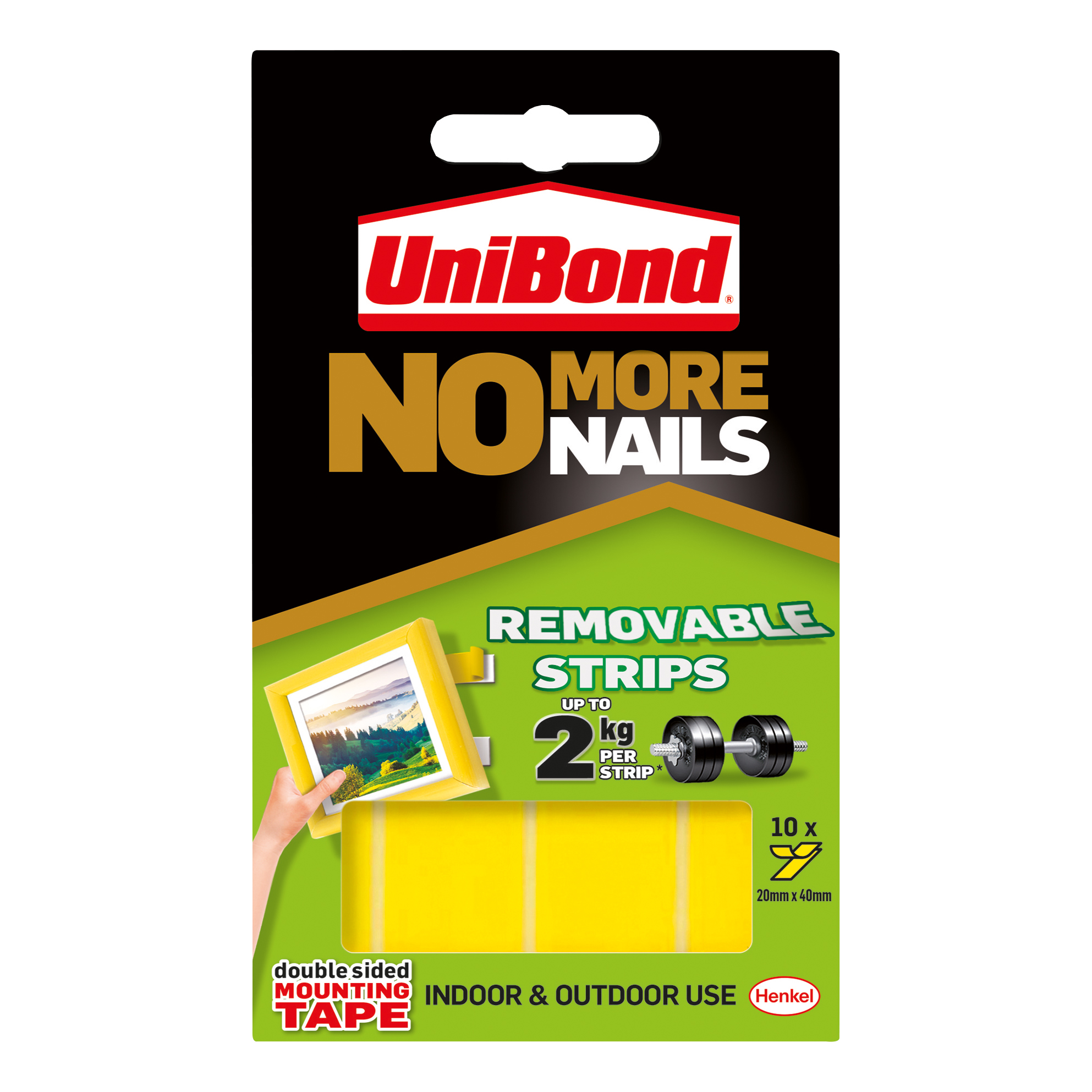 Unibond No More Nails Strip Ultra-strong Removable Translucent Ref 781739 Pack 10