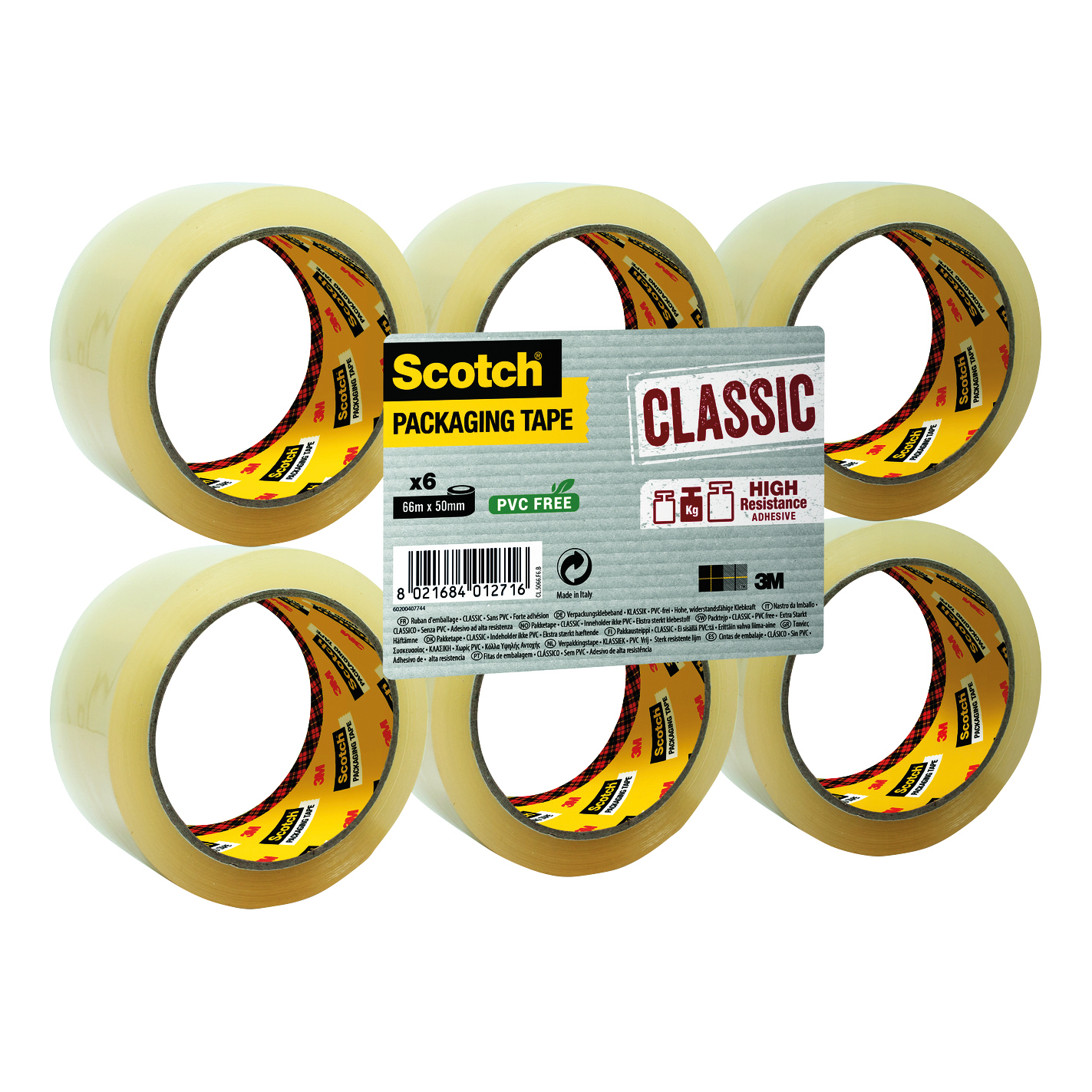 Scotch Classic Packaging Tape 50mmx66m Clear Ref CL5066F6T Pack 6