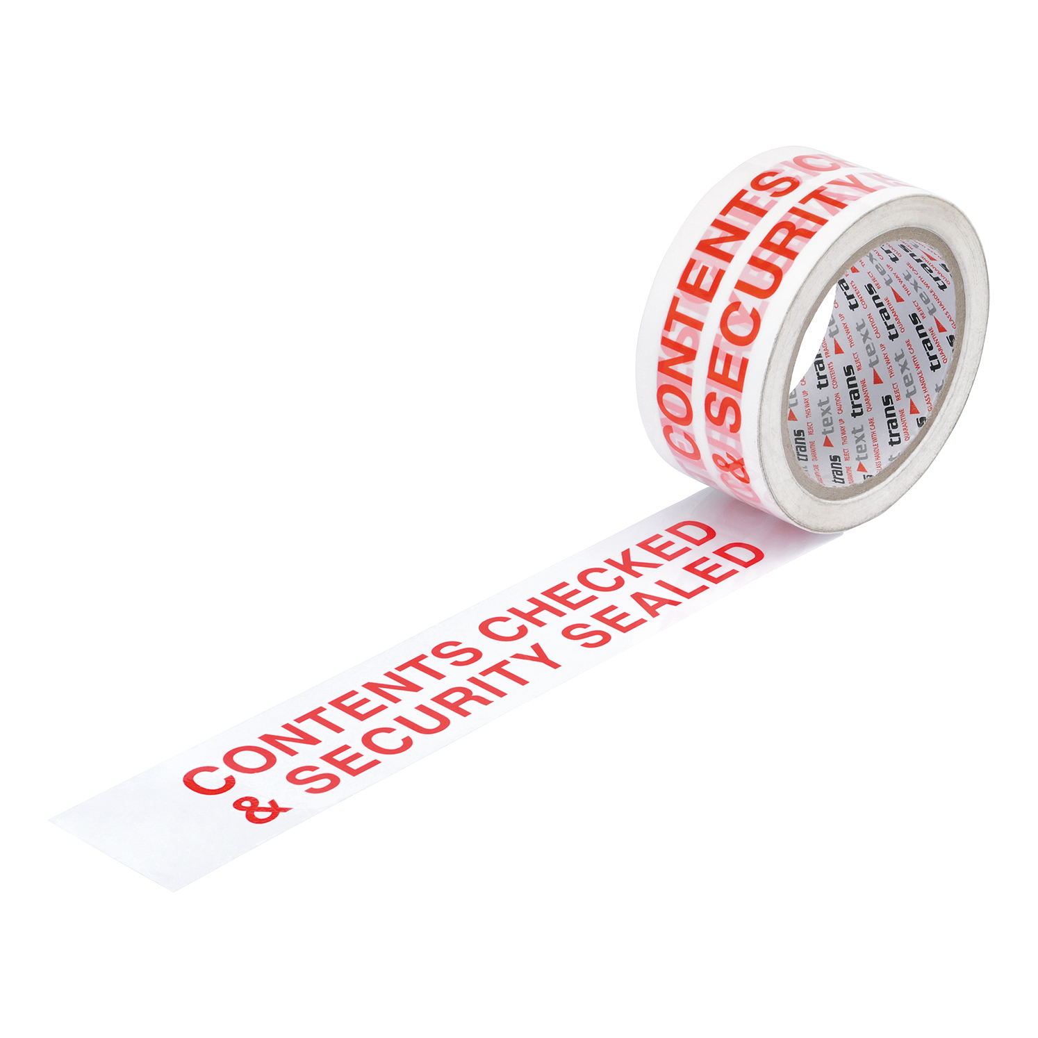 5 Star Office Printed Tape Contents Checked and Sealed Polypropylene 48mmx66m Red Text on White Pack 6