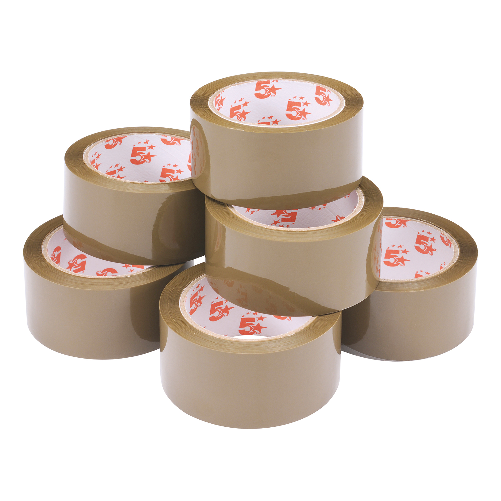 5 Star Office Packaging Tape Low Noise Polypropylene 48mm x 66m Buff Pack 6