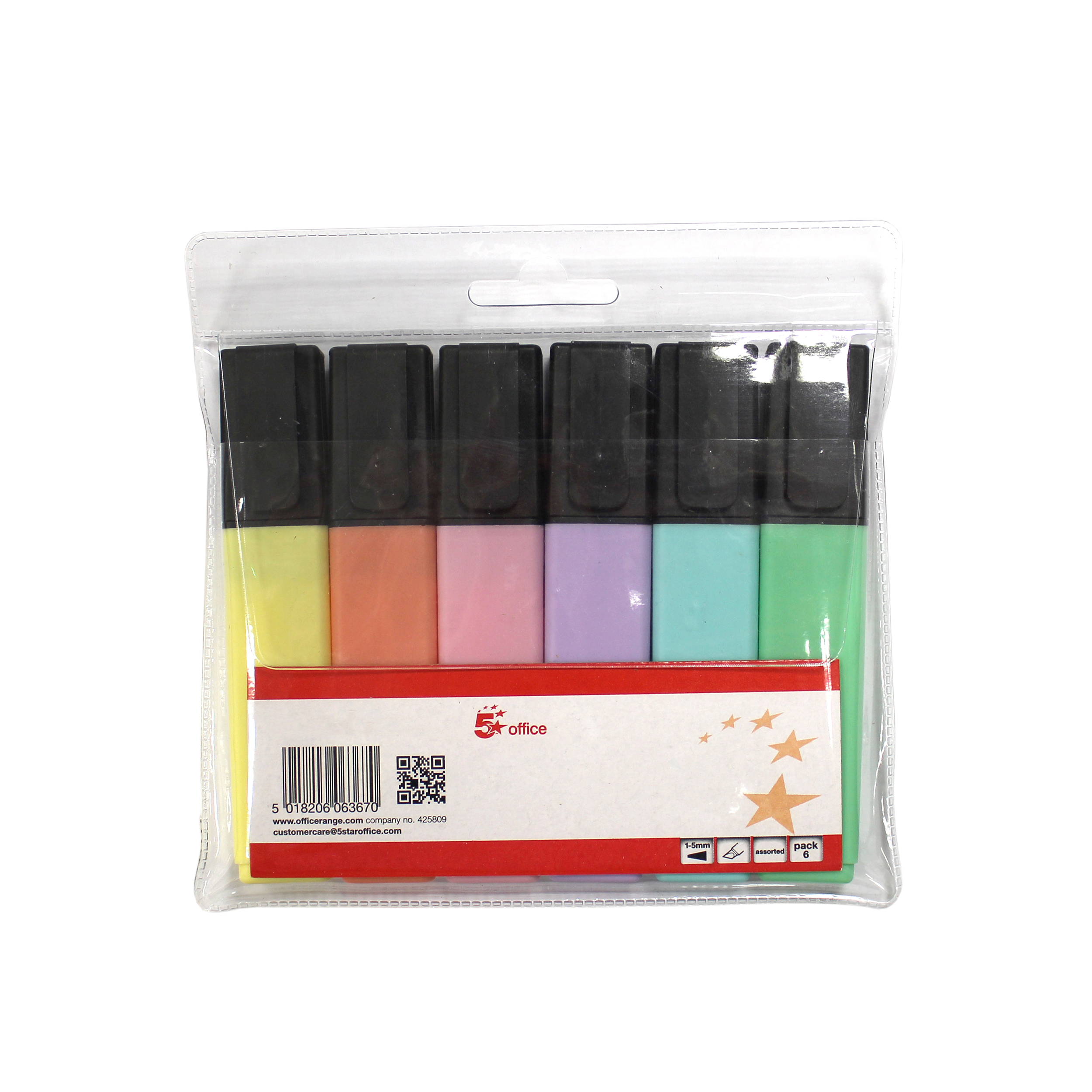 Highlighters 5 Star Office Pastel Highlighters Assorted Pack 6