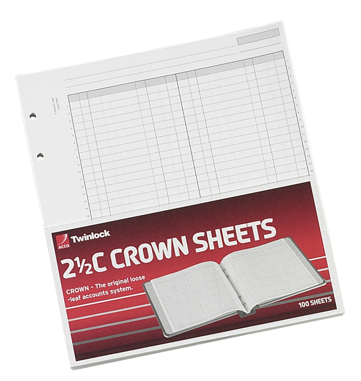 Twinlock 2.5C Crown Double Ledger Sheets Ref 75831 [Pack 100]