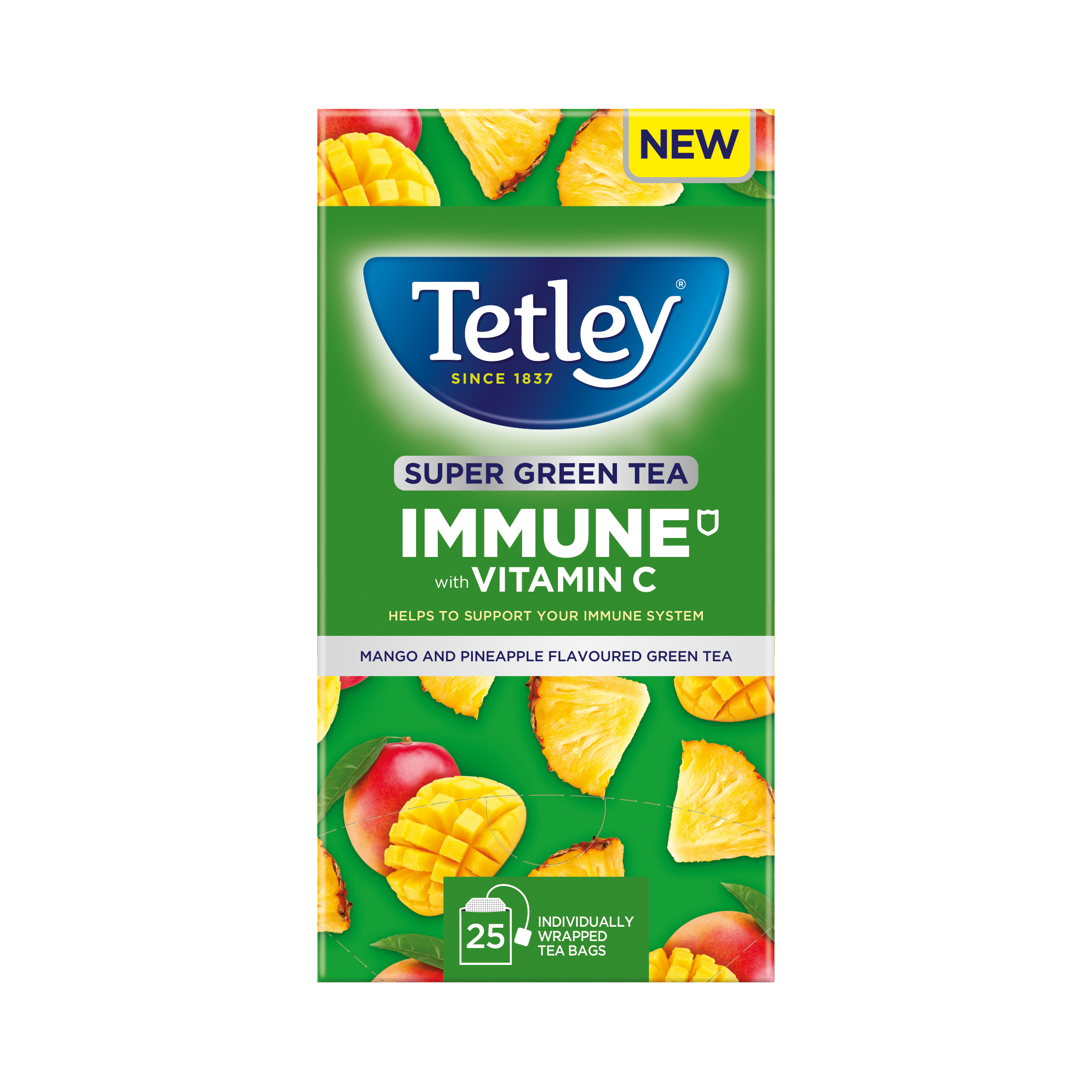 Tea bags Tetley Super Green Tea IMMUNE Mango & Pineapple with Vitamin C Ref 4691A Pack 25