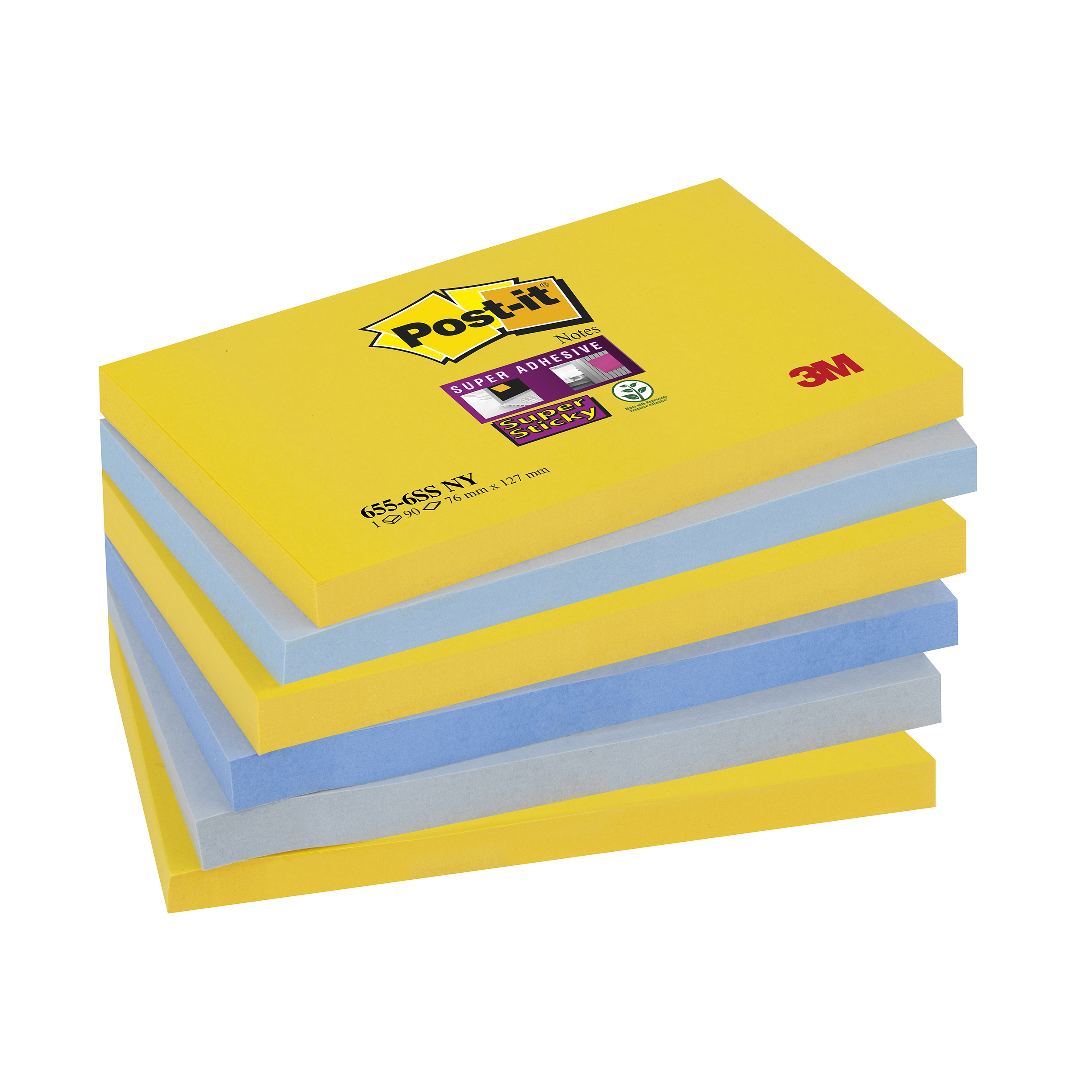 Self adhesive note paper Post-it Super Sticky Notes New York 76x127mm Ref 655-6SS-NY Pack 6