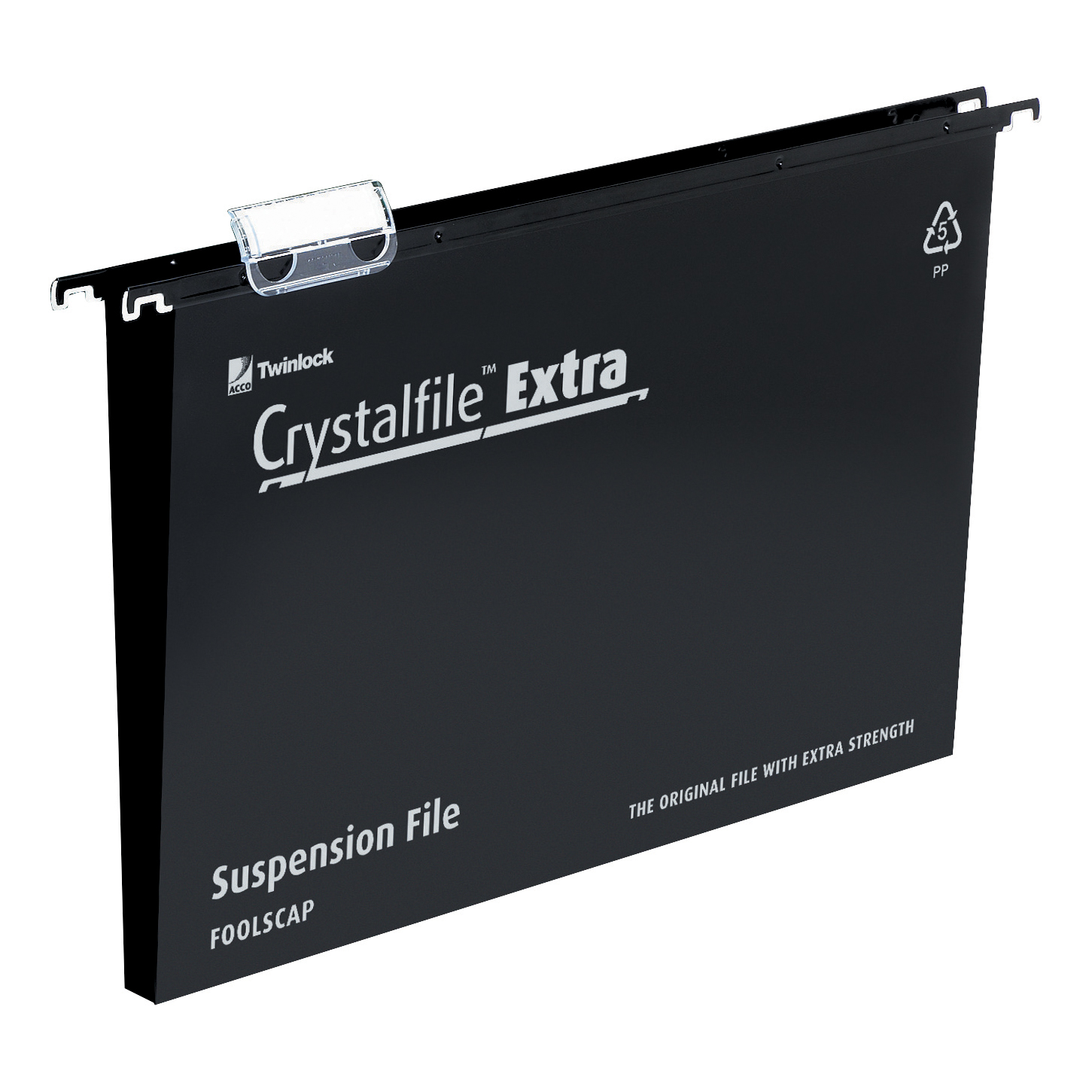 Rexel Crystalfile Extra Suspension File Polypropylene 30mm Wide base Foolscap Black Ref3000081 [Pack 25]