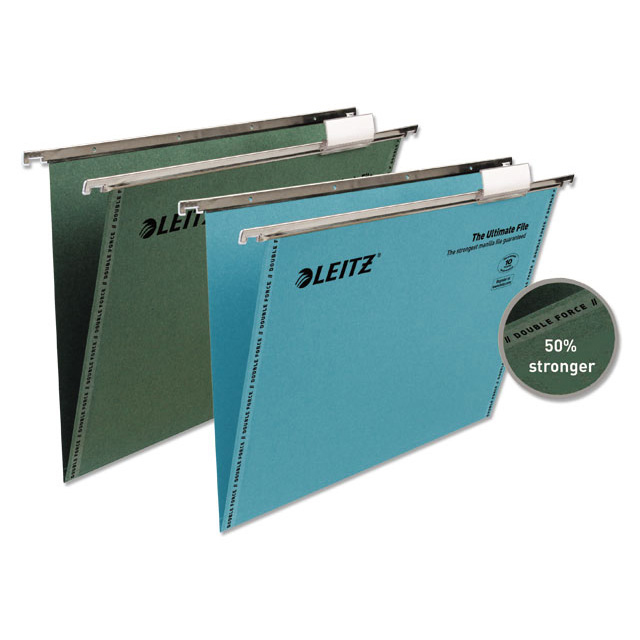 Leitz Ultimate Suspension File Recycled Manilla 15mm V-base 215gsm Foolscap Blue Ref 17440035 Pack 50