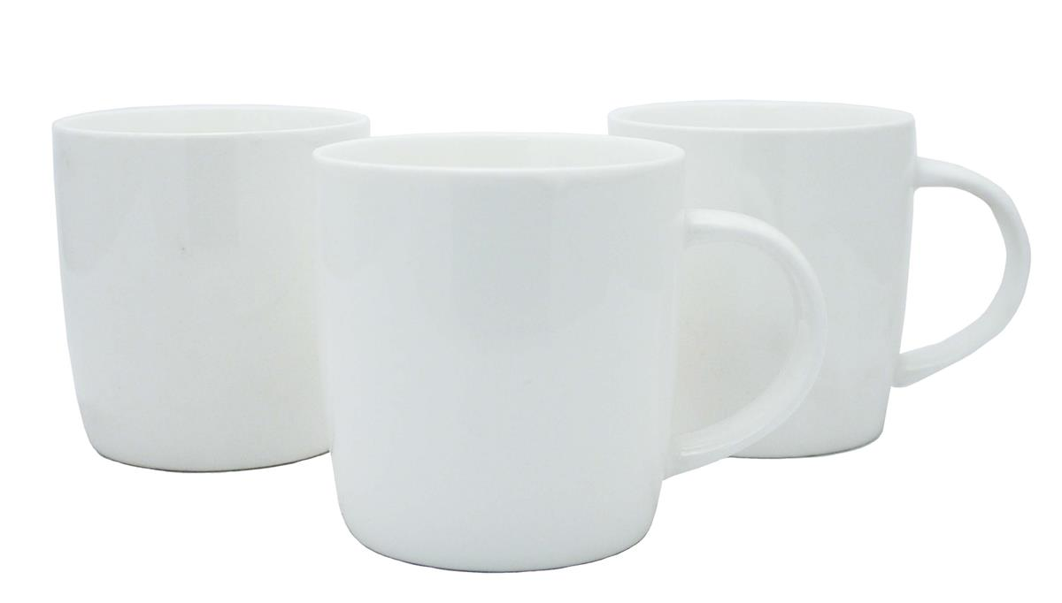 Earthenware White Mugs [Pack 12]