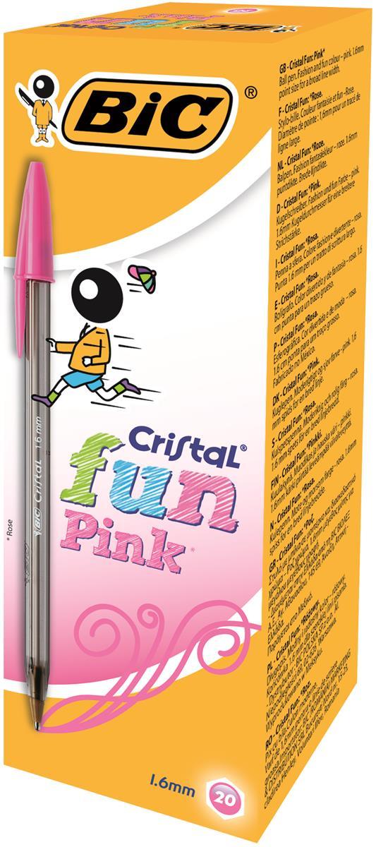 Image for Bic Cristal Fun Ballpen 1.6mm Tip 0.6mm Line Pink Ref 929056 [Pack 20]