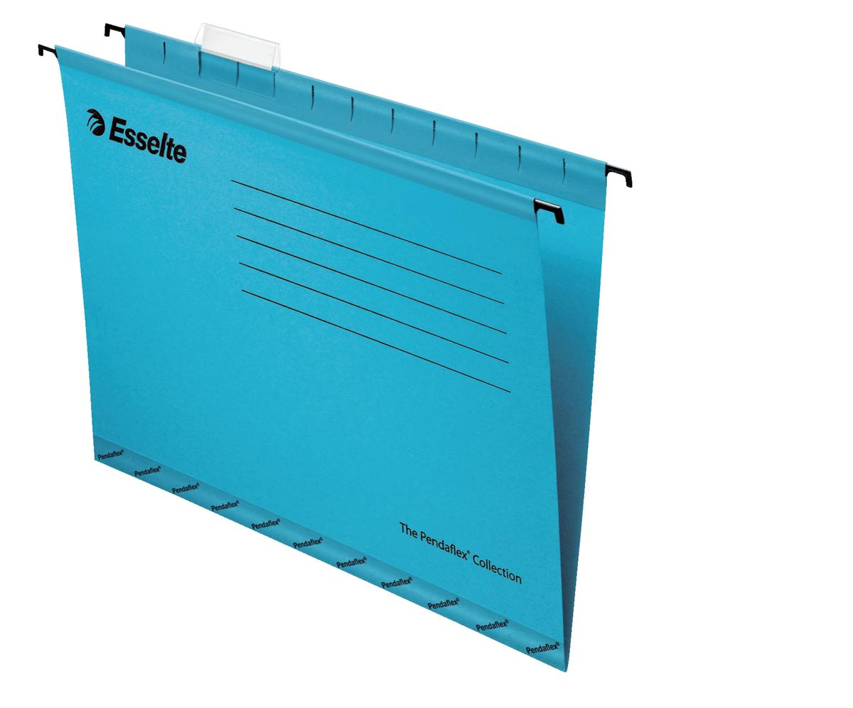 Image for Esselte Classic Suspension File Reinforced Foolscap File Blue Ref 90334 [Pack 25]