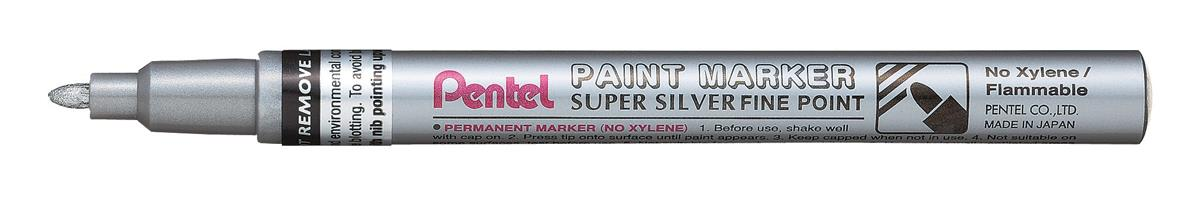 Image for Pentel Paint Marker Metallic Fine Point Silver Ref MSP10-Z [Pack 12]