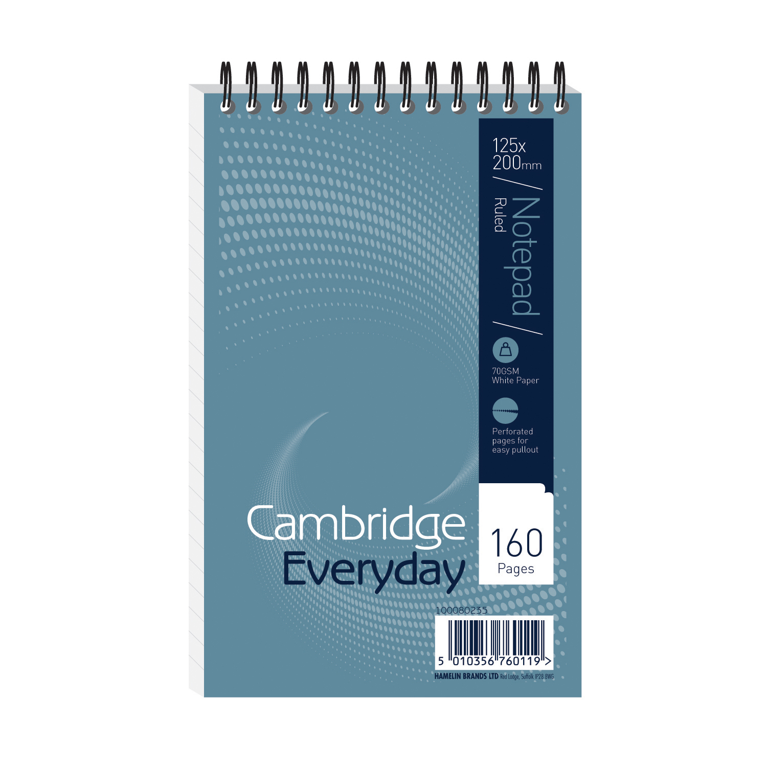 Spiral Note Books Cambridge Everyday Shorthand Pad Wbnd 70gsm Ruled Perforated 160pp 125x200mm Blue Ref 100080235 Pack 10
