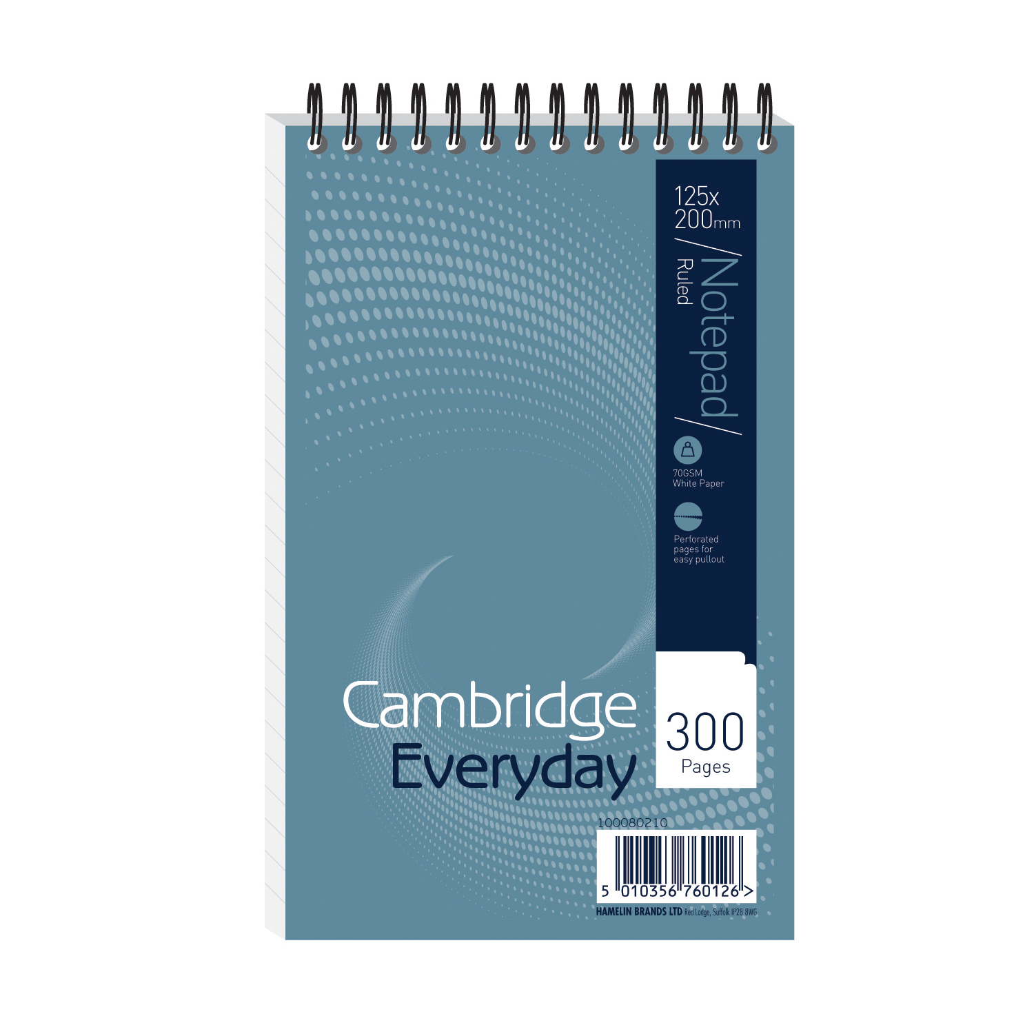 Cambridge Everyday Shorthand Pad Wbd 70gsm Ruled Perforated 300pp 125x200mm Blue Ref 100080210 [Pack 5]