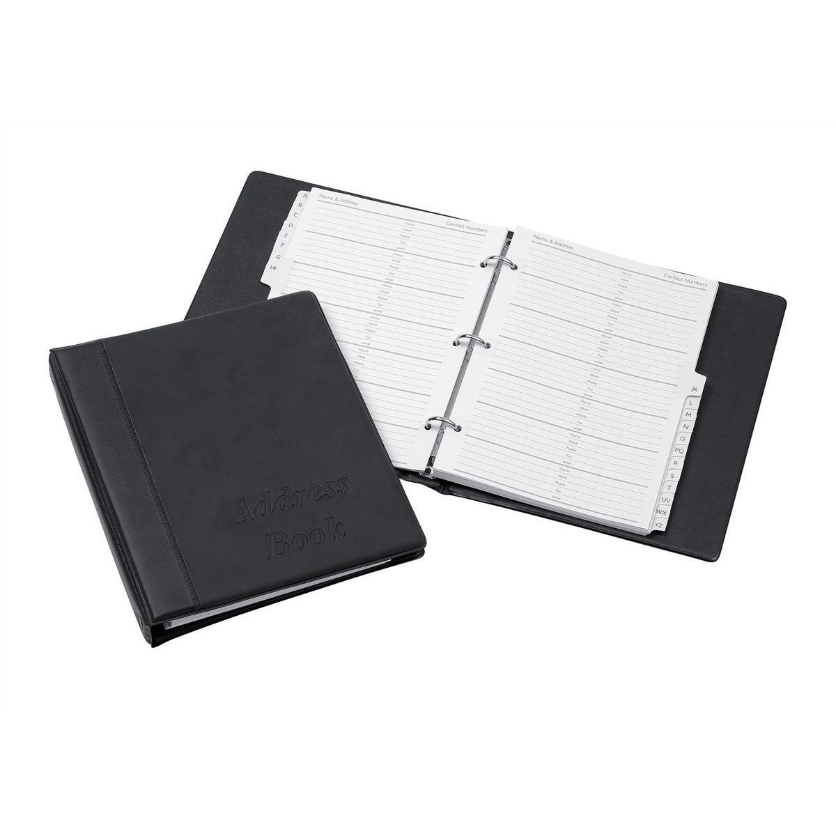 Address books Telephone Index Book Binder with Matching A-Z Index and 20 Sheets A5 Black