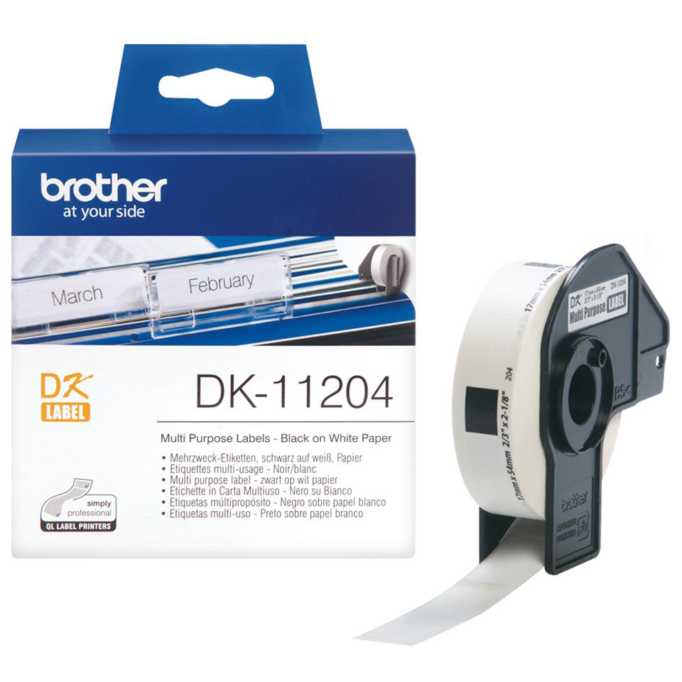 Brother P-Touch DK-11204 17mmx54mm Multi-Purpose Labels 400 Labels Ref DK11204 3to5 Day Leadtime