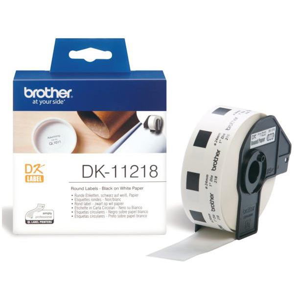 Brother P-Touch DK-11218 24mmx24mm Round Labels 1000 Labels Ref DK11218 *3to5 Day Leadtime*