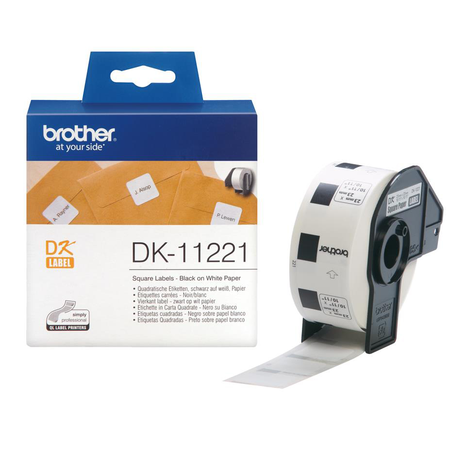 Brother DK-11221 23mmx23mm Square Paper Labels BlkOnWht 1000 Labels Ref DK11221 *3to5 Day Leadtime*