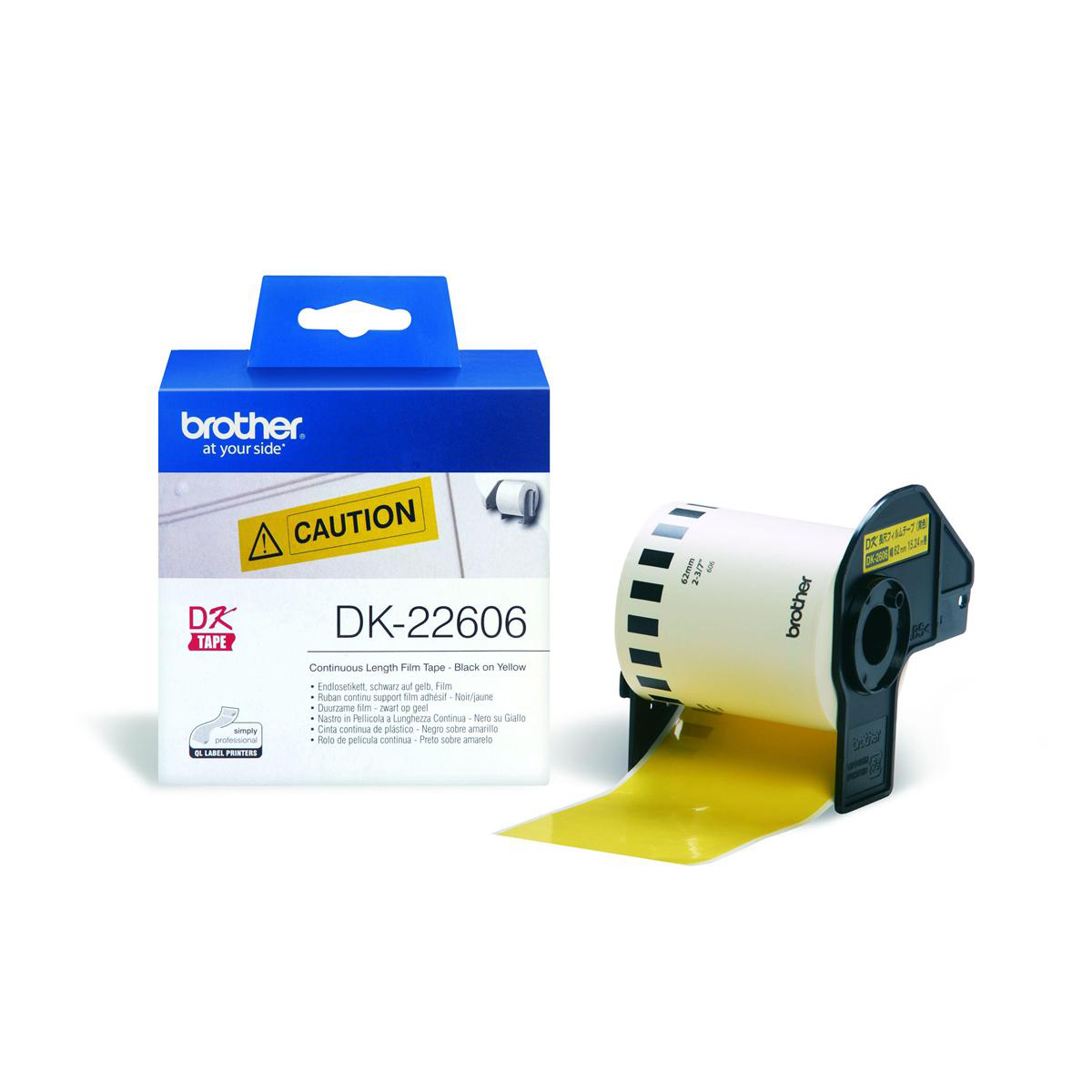 Labelling Tapes & Labels Brother P-Touch DK-22606 62mmx15.2m Continuous Yellow Film Tape Ref DK22606 *3to5 Day Leadtime*
