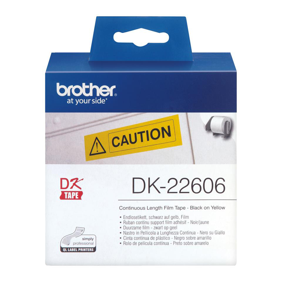 Brother P-Touch DK-22606 62mmx15.2m Continuous Yellow Film Tape Ref DK22606 *3to5 Day Leadtime*