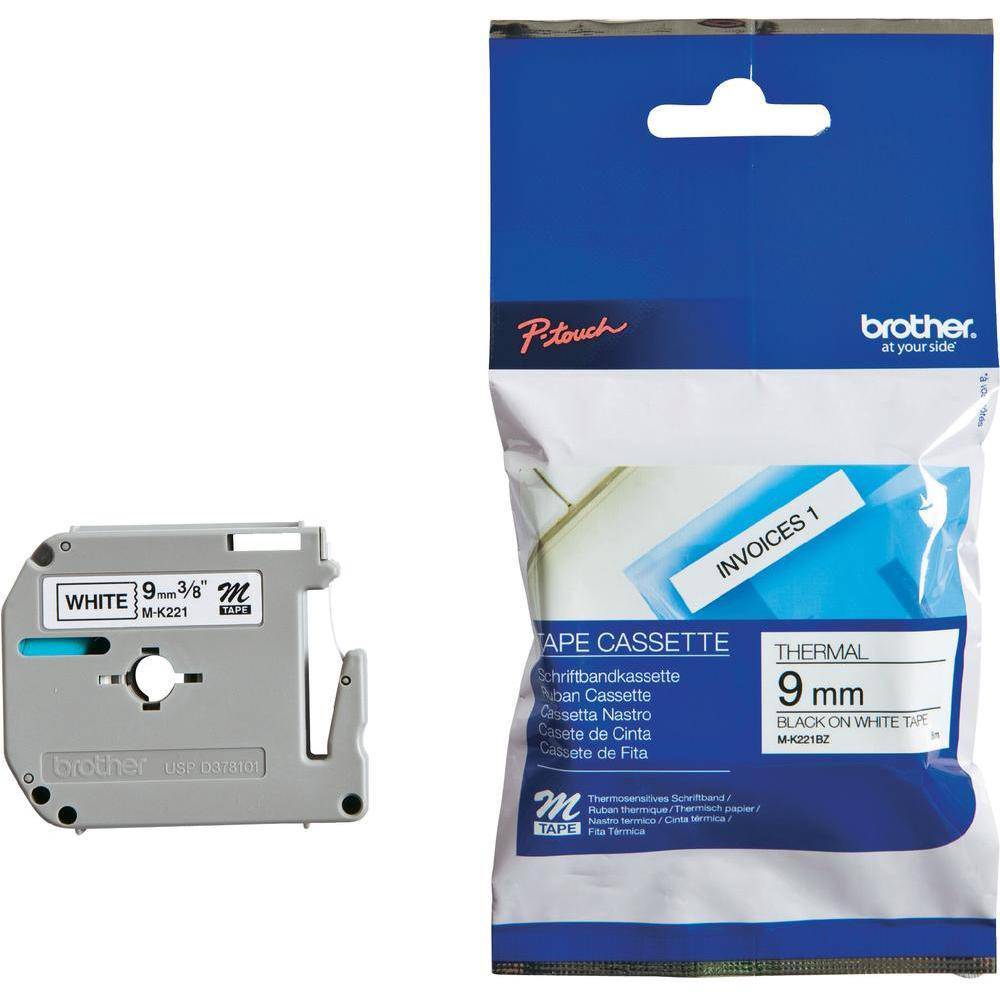Brother P-Touch M-K221BZ 9mmx8m Black On White Plastic Labelling Tape Ref MK221BZ